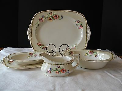 W. H. Grindley England Ivory Platters/Serving Bowls/Gravy Boat 737554 Flowers