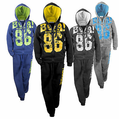 Kids Girls Tracksuit 2 Piece Jogging Suit Hooded Zip Top Joggers Bottom Age 2-12