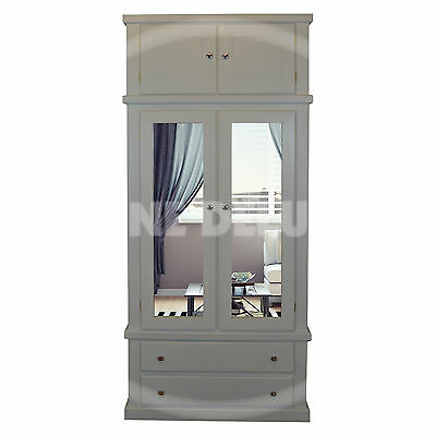 Hand Made Dewsbury Gents Double Mirrored Wardrobe With Top Box(Assembled)