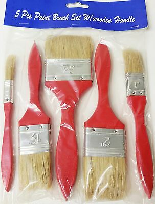 """15pc. Paint Brush Set Wooden Handle 2.5"""" / 2"""" / 1"""" / 1"""" / .5"""" NEW (Pack of 3)"""