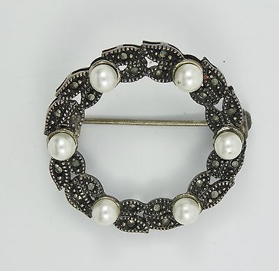 VINTAGE EDWARDIAN STYLE SIGNED STERLING w/ MARCASITE WREATH PIN BROOCH
