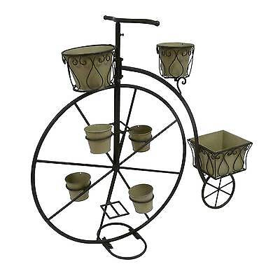 Velo porte plante bac jardini re pot de jardin en metal fer blanc 32x58x21cm for Decoration jardin velo