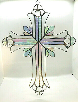 GIANT 24 INCH STAINED GLASS CLEAR CRUCIFIX !! Stunning!  Iridescent HANDMADE !
