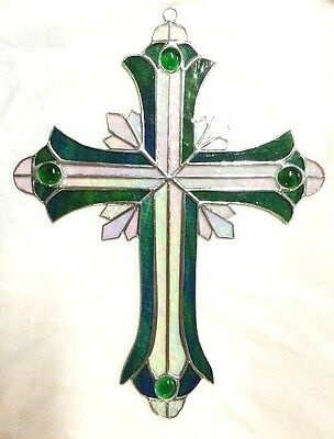 LARGE 14 INCH STAINED GLASS GREEN CRUCIFIX !! Stunning!  Iridescent HANDMADE !