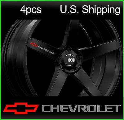 4 CHEVY Chevrolet Stickers Decals Wheels Rims Camaro SILVER-red