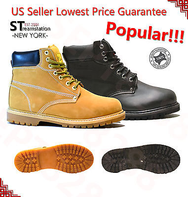 Men's Winter Snow Boots Work Boots Waterproof Rubber Wheat Black Leather 6011