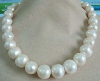 "huge 18"" AAA 15-12 MM SOUTH SEA NATURAL White PEARL NECKLACE 14K GOLD  CLASP"