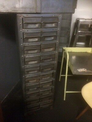 Vintage Industrial Stripped Metal 20 Drawer Engineers Cabinet Storage
