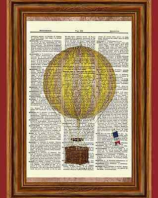 Vintage Retro Hot Air Balloon Dictionary Curious Art Print Poster Picture Yellow