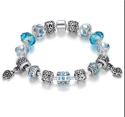 European 925 Sterling Silver Plated Charm Bracelet With Blue Charms Beads