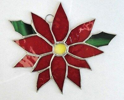 Lot of 3!   Stained Glass  POINSETTIAS ! HANDMADE  AND GORGEOUS