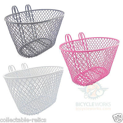 Childrens Bicycle Basket Hook On Kids Girls Handlebar Front Metal Mesh Trike