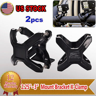 """2.25""""-3"""" BULL BAR/GRILLE GUARD/RACk MOUNTING BRACKET X-CLAMPS OFF ROAD LIGHTS"""