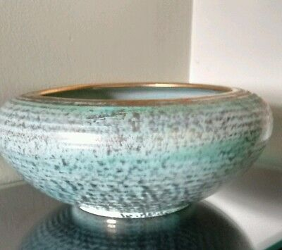 """Stangl pottery turquoise 9"""" artistic bowl"""
