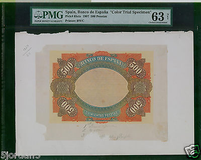 SPAIN  ESPAÑA 500 PESETAS 1907 #65 CTS Color Trial SPECIMN PROOF EXTREMELY RARE