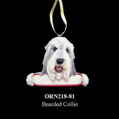 """Bearded Collie Christmas Ornament """"Santa's Pals"""" Personalized Name Plate #90"""