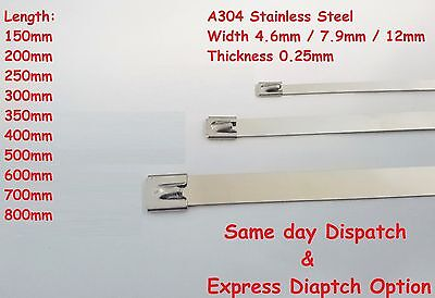 Stainless Steel Metal Cable Ties Zip Tie Induction Pipe Exhaust Heat Warp Strap