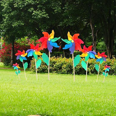Multi Colorful Holographic Garden Windmill Flower Window Home Decor Kids Toy