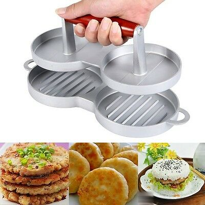 Aluminum Double Burger Press Hamburger Beef Meat Grill Maker Kitchen Mold New