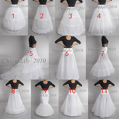 wedding petticoat underskirt crinoline prom dress bridal slip skirt WHITE BRIDA