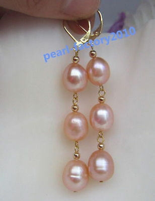 new 12-10MM AAA PERFECT south sea pink  pearl earrings 14K  GOLD