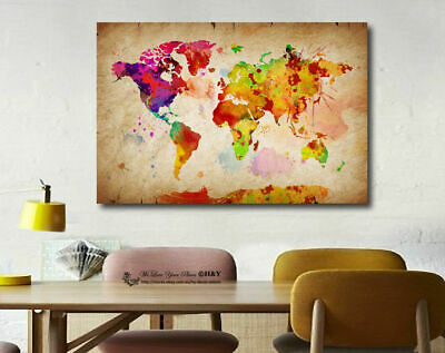 Watercolour World Map Stretched Canvas Print Framed Wall Art Home Decor Painting
