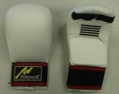 Playwell Karate Mitts White Sparring Gloves Training Competition Protective