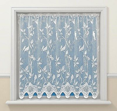 Pure White Song Birds Love Birds Luxury Victorian Lace Net Curtain Free Postage