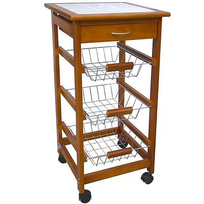 3 Tier Kitchen Trolley Wood Cart Basket Storage Drawer Tile Top By Home Discount