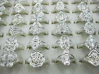 5Pcs/lot Wholesale Jewelry Lot Mixed Style Silver Plated Vintage Rings Free J109