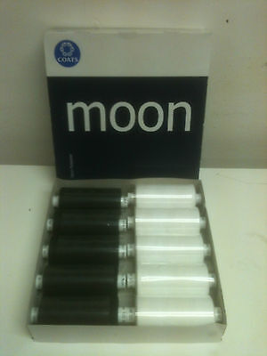 10 x 1000 Yard Reels Of Black & White Polyester Moon Thread By Coates