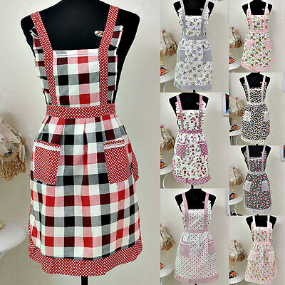 Nice Women Restaurant Home Kitchen Cooking Pocket Lace Apron Dress New
