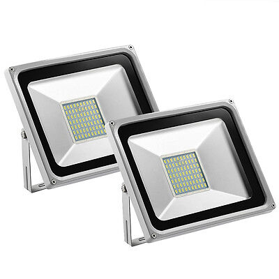 2X 50W LED SMD Flood Light Cool White Outdoor Security Spotlight Path Lamp 240V