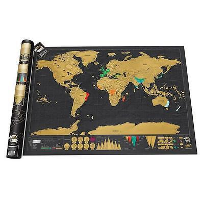 Deluxe Black Scratch off Map World Map Wall Decor Travel Journal Necessary Hot