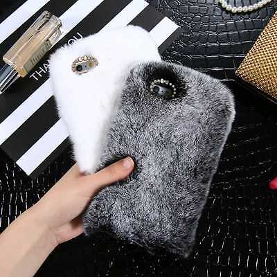 Luxury Furry Rabbit Fur Case Shockproof Cover for iPhone 7/7 Plus/ 6 6s+ Samsung