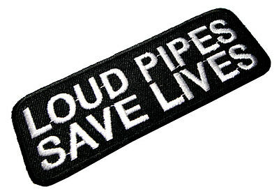 Loud Pipes Save Lives Biker Motorcycles Embroidered Iron on Patch Free Shipping