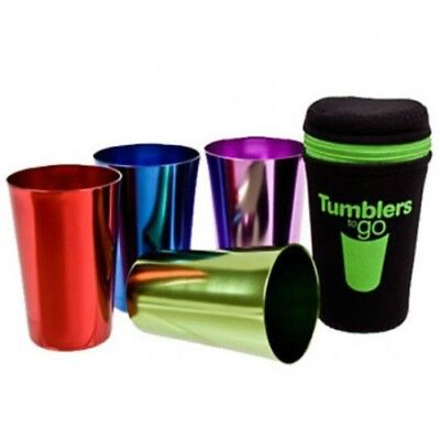 Tumblers To Go Anodised Camping Picnic Cup Retro Set 4