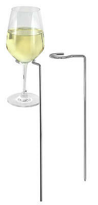 Wine Glass Holder Stand Stemware Picnic Stakes Stainless Steel x 2