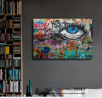 Graffiti Stretched Canvas Print Framed Wall Art Home Office Decor Painting Gift