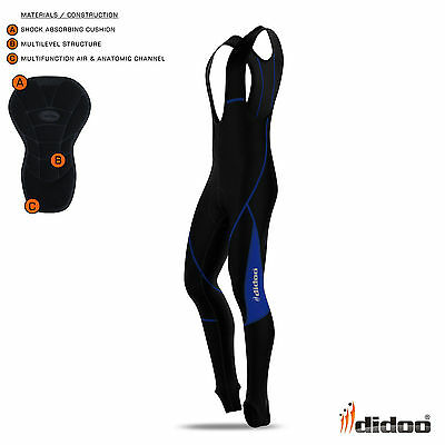 Didoo Mens Cycling Bib Tights Long Pant Thermal Padded Cold Wear Winter Trousers