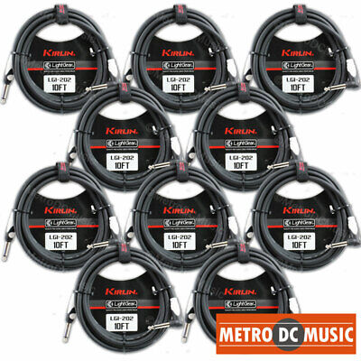 10-Pack Kirlin 10 ft Right-Angle Guitar Instrument Patch Cable Cord Cable Tie