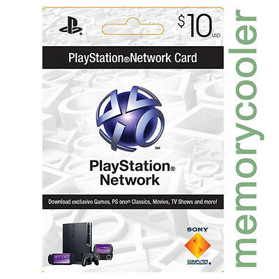 Playstation PS 3 4 PSN Network Prepaid Card 10$ PSP PS3 PS4 US Store Per email