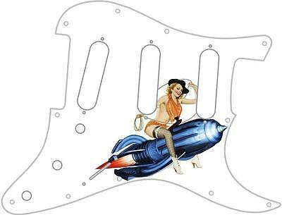 Stratocaster Strat Pickguard Custom Fender SSS 11 Hole Guitar Pin Up Giddu Up WH