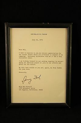 """Vtg 1976 Autograph President Gerald R. Ford Typed Letter Signed """"Jerry Ford"""""""