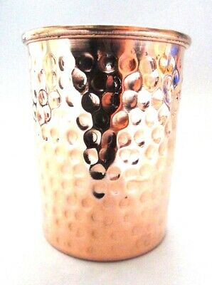 100% Copper 300ml Hammered Drinking Glass Cup Tumbler Mug - Ayurveda Health Yoga