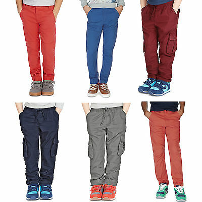 Boys Chinos Trousers Ex M*s 12-18 Months- 13-14 Years Navy,black,orange,charocal