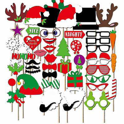 50Pcs Christmas Birthday Party Photo Booth Props Set DIY Mustache On A Stick UK