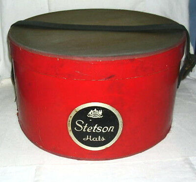 1930s Vintage Stetson Red Hat Box, Thick Canvas Strap