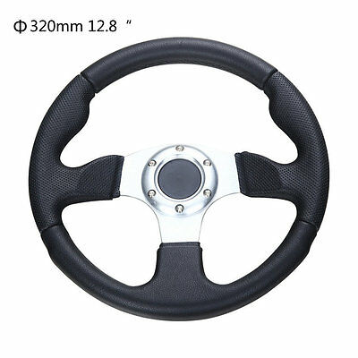 """Universal 320mm / 12.8"""" Racing Sports Steering Wheel with Horn Button Black"""
