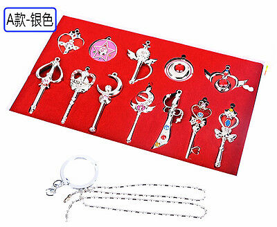 Sailor Moon Metal Keychain Necklace Pendant Cosplay Prop Collection Set+Gift Box